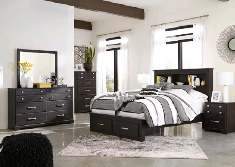 Queen Bed  Dresser Mirror & NS