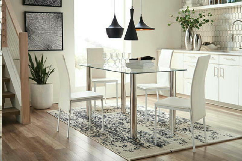 Dining Table w 4 WHT Chairs